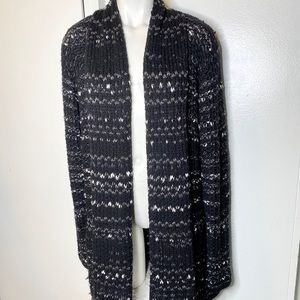 Coldwater Creek Black Grey Chunky Cardigans L 14
